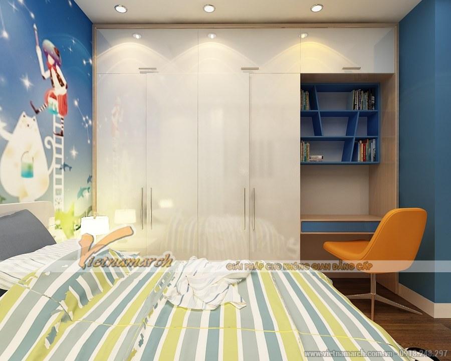 Tủ, giá sách, bàn học được thiết kế một cách tinh tế, gọn gàng và thông minh mang đến không gian thoáng, rộng vui chơi cho trẻ