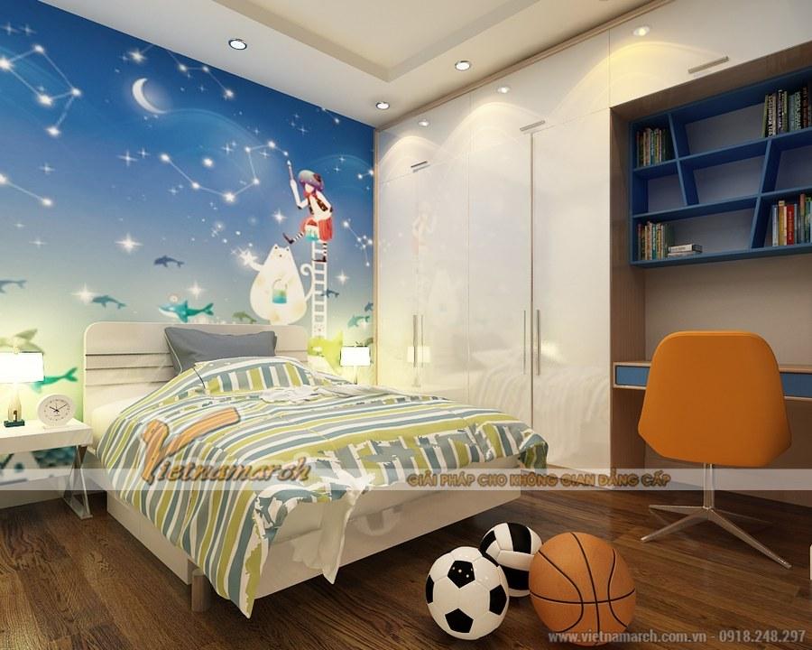 Thiết kế nội thất phòng ngủ rất biết cách phối màu mang đến một không gian nghỉ ngơi, vui chơi vô cùng tuyệt vời cho trẻ