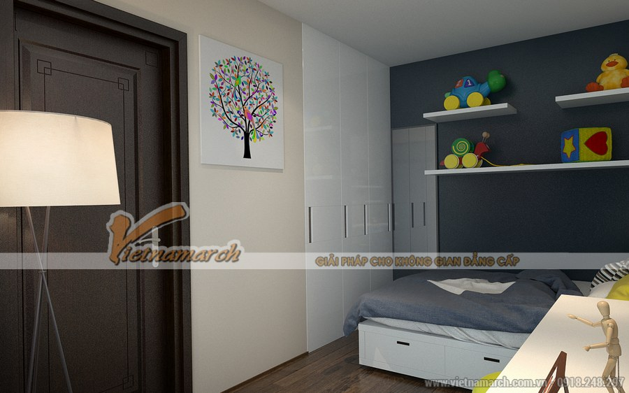 Thiết kế nội thất phòng ngủ bé trai với các chi tiết dứt khoát, mạnh mẽ mang đến một căn phòng năng động