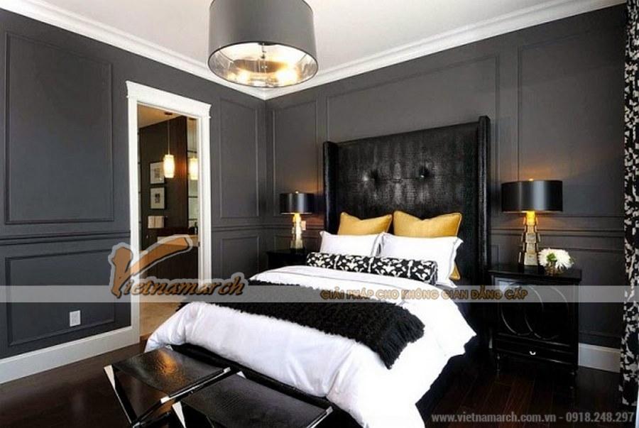 Gam màu đen - trắng tạo điểm nhấn và sự nổi bật cho phòng ngủ