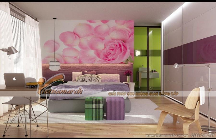 Sử dụng nhiều màu sắc tương phản cho phòng ngủ mang đến một không gian đa chiều đa sắc màu