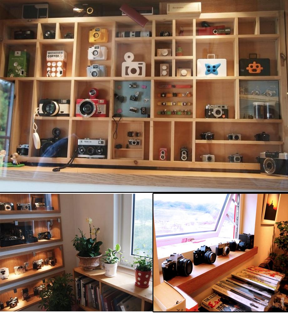 Khu vưc trưng bày máy ảnh độc đáo của chủ quán