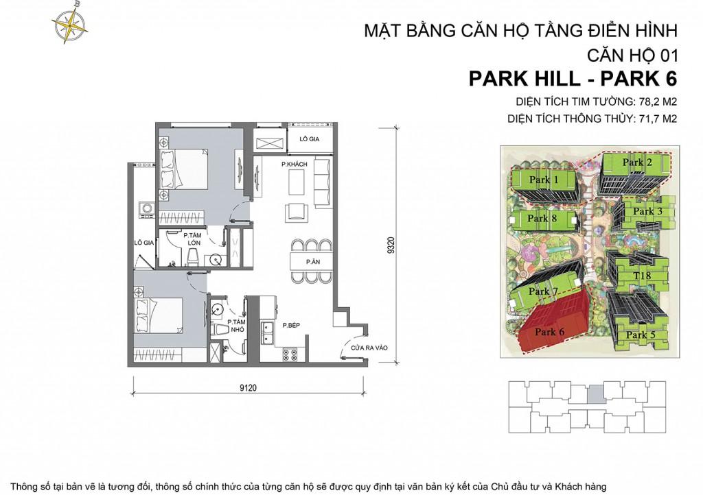 Bản vẽ tổng thể của căn hộ 01 park 6 của chung cư Park Hill Time City