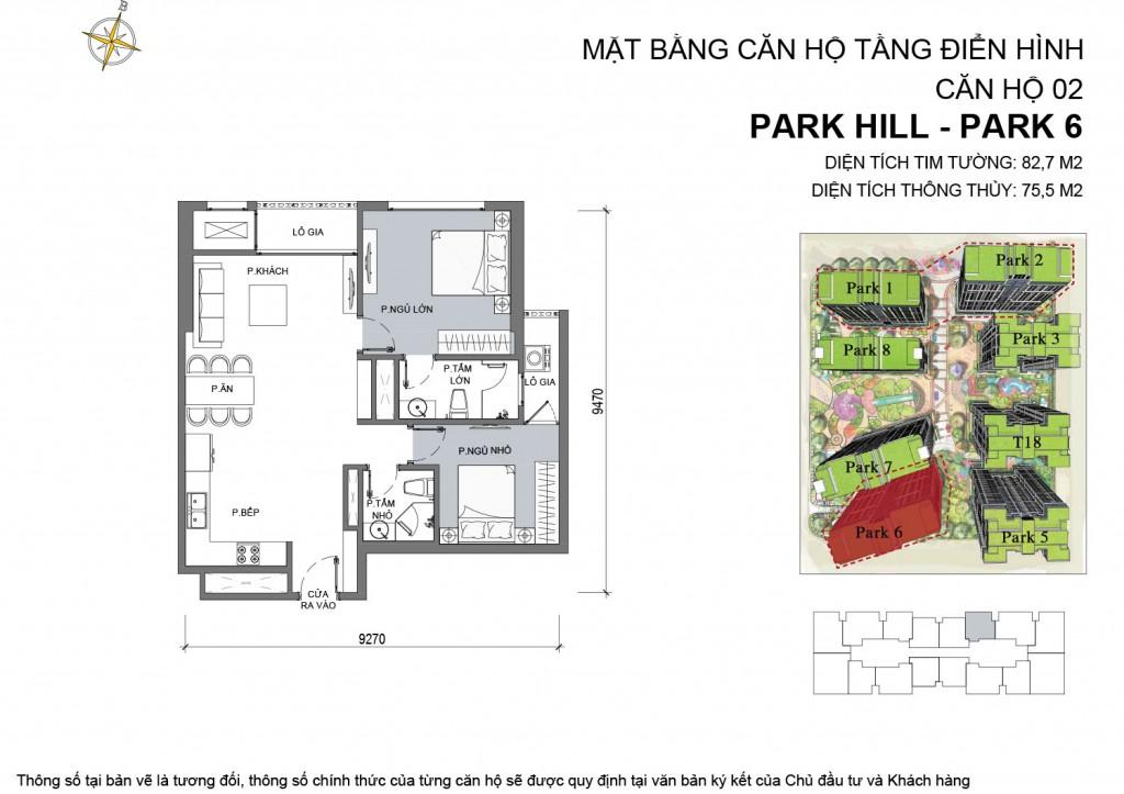 Mặt bằng thiết kế căn hộ 02 -park 6 của chung cư Park Hill Time City