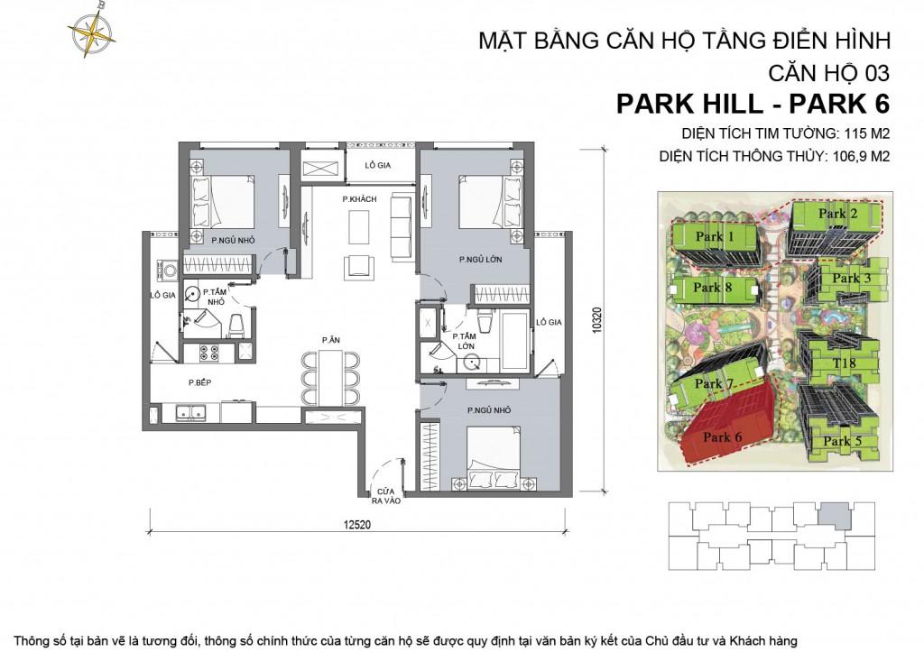 Bản vẽ chi tiết về căn hộ park 6 - 03 chung cư Park Hill Times City