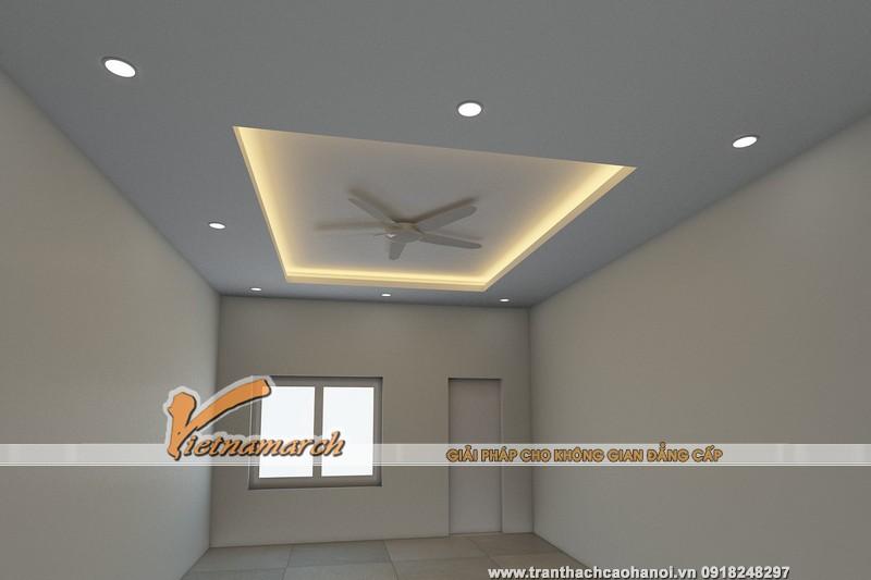 Hình ảnh 3D thiết kế trần thạch cao và đèn led âm trần cho phòng ngủ