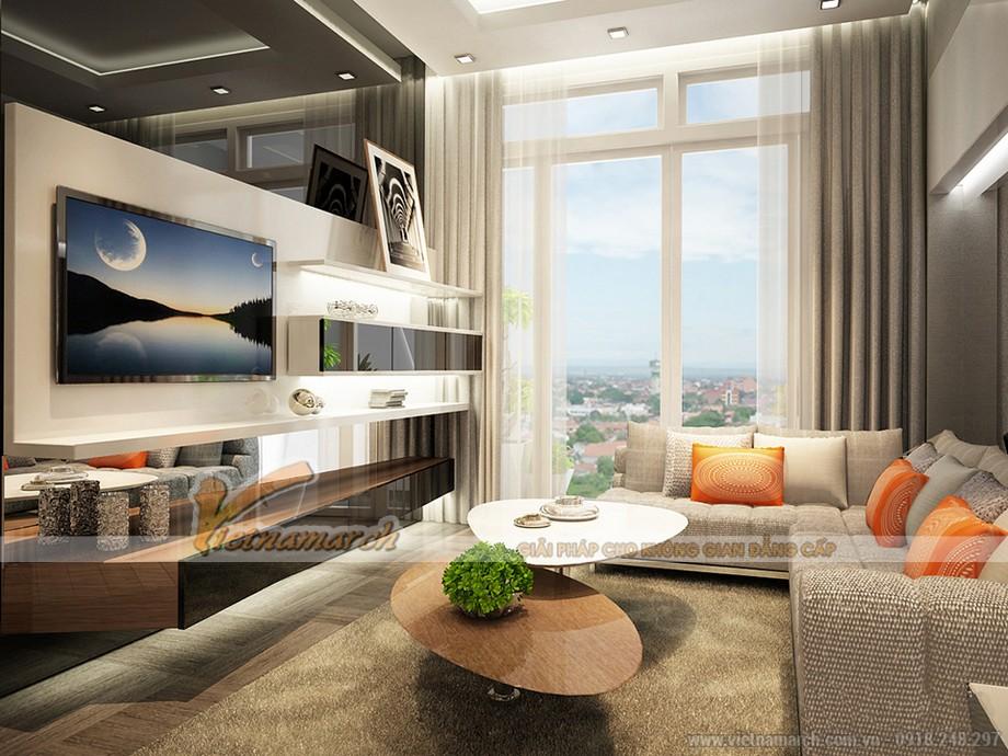 Thiết kế phòng khách rộng và thoáng căn hộ Park 6 Times City