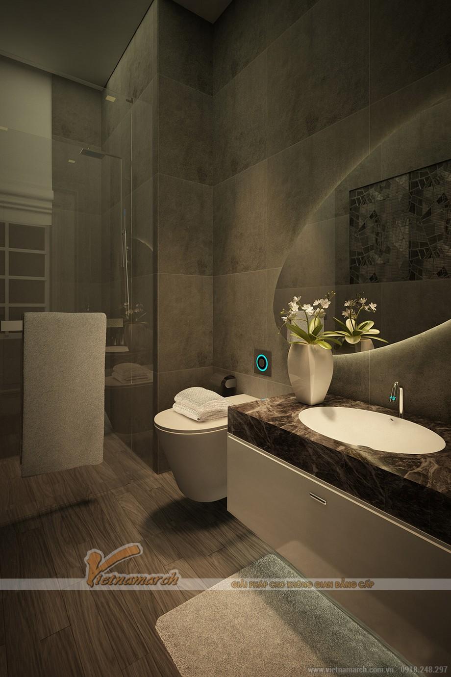 Phòng tắm được thiết kế hiện đại với những nội thất cao cấp