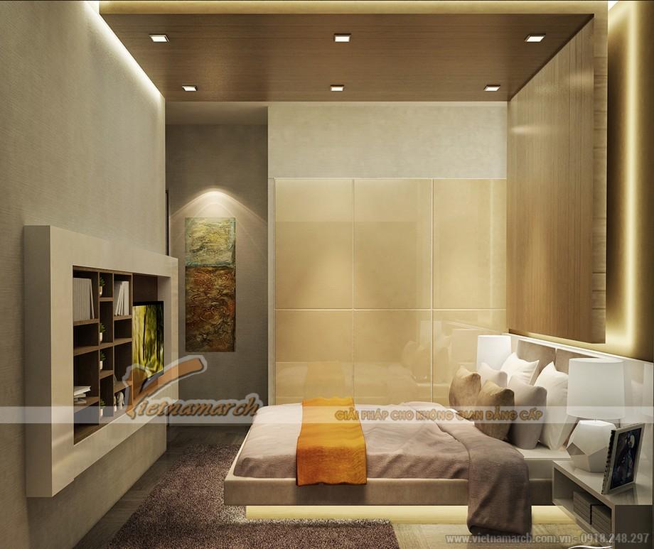 Phòng ngủ thiết kế khá hiện đại nhưng không kém phần ấm cúng