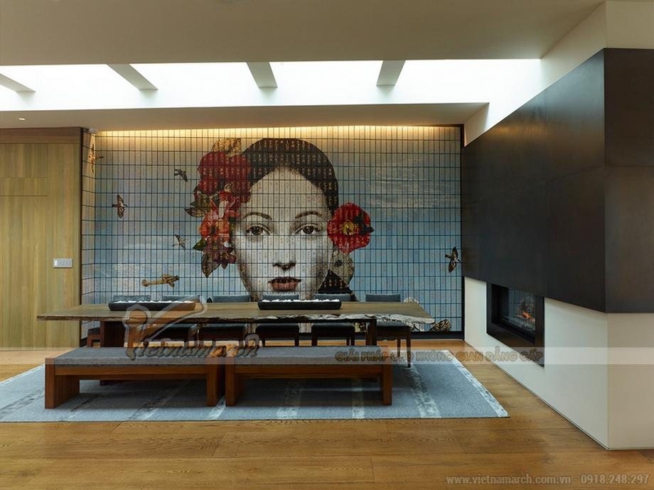 Phòng ăn rộng với thiết kế độc đáo