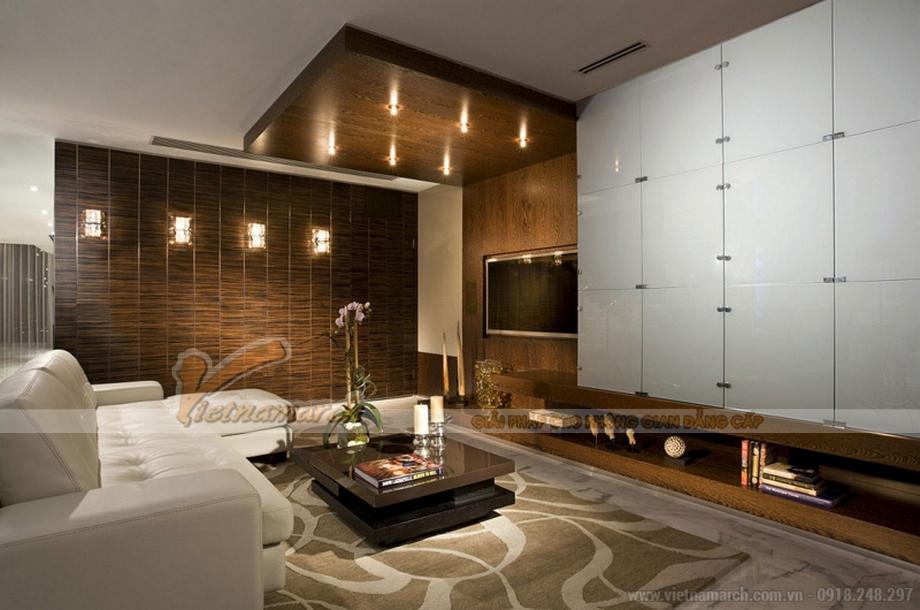 Thiết kế nội thất Penthouse với phòng khách hiện đại