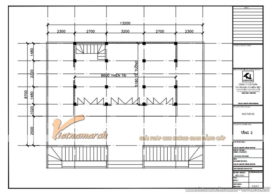 Bản thiết kế nhà thờ họ tại Hà Tĩnh mặt bằng tầng 2