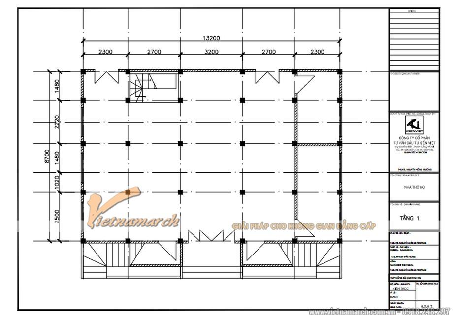 Bản thiết kế nhà thờ họ tại Hà Tĩnh mặt bằng tầng 1