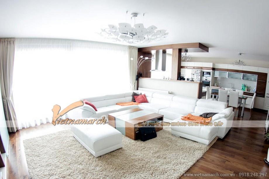 thiết kế phòng khách mở trong căn hộ park hill times city