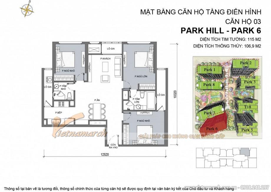Mặt bằng căn hộ 03 Park 6 Chung cư Park hill Times City