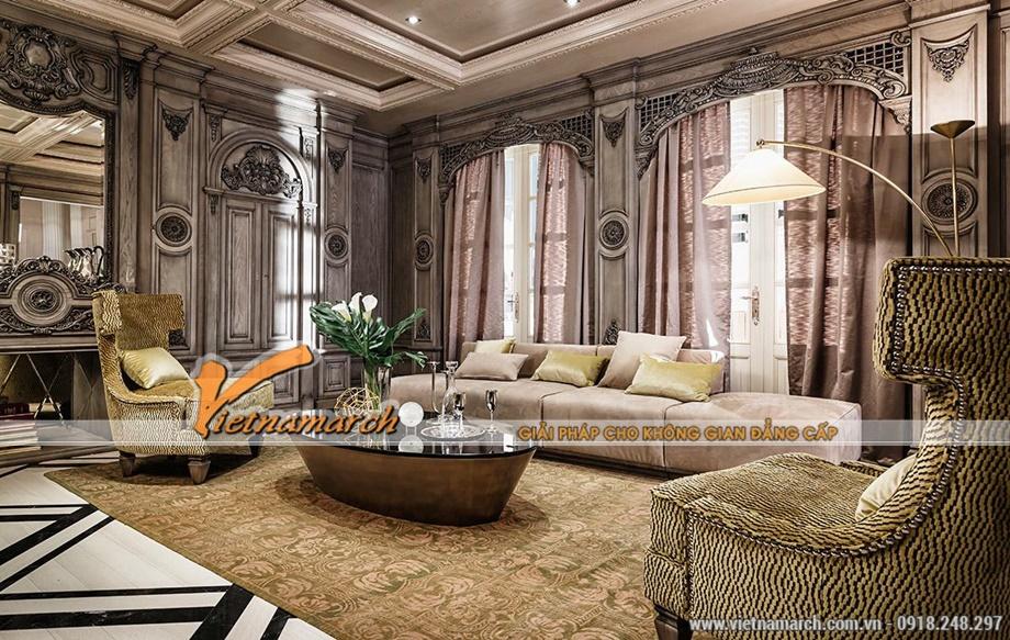 Phòng khách đặc sắc thú vị với bố trí mới mẻ - thiết kế nội thất tân cổ điển