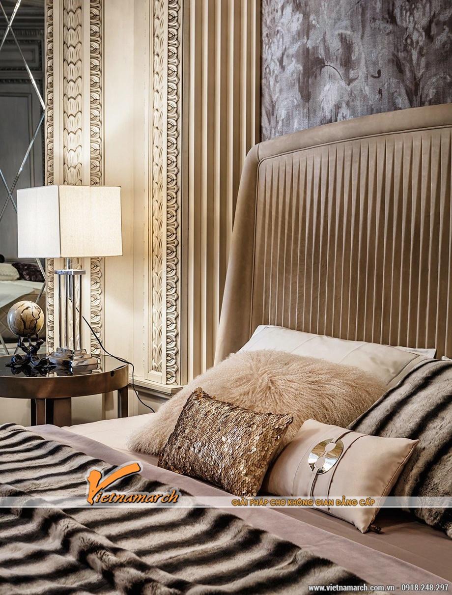 giường ngủ đôi với lông thú tạo nên ấn tượng - Thiết kế nội thất tân cổ điện sang trọng