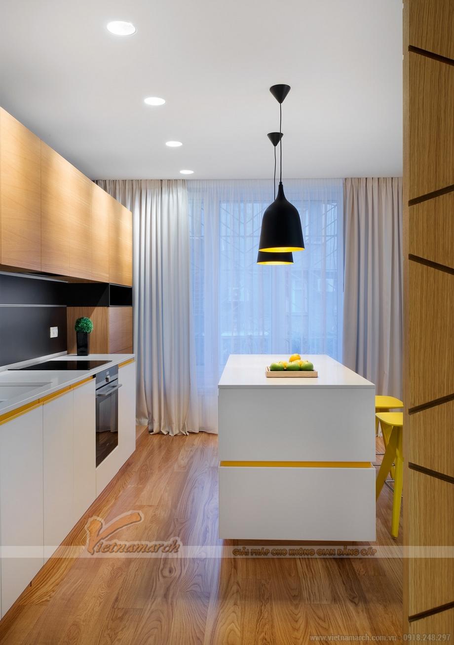 Không gian nhà bếp hiện đại, thoáng trong căn hộ 70m2
