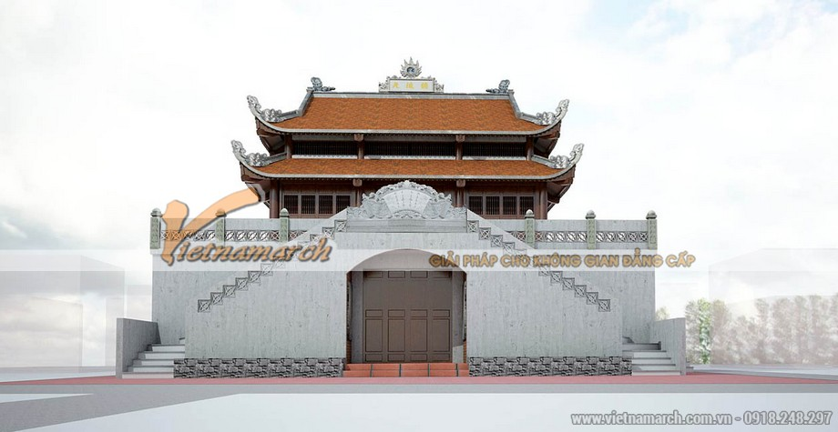 Mặt trước của công trình nhà thờ họ tại Hà Tĩnh