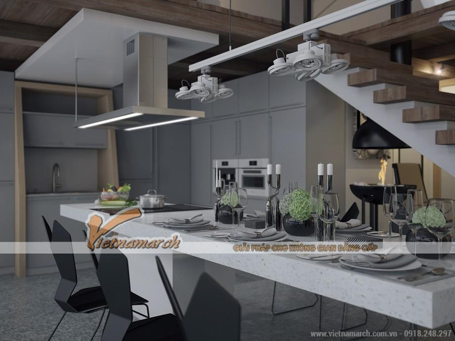Khu vực bàn ăn hiện đại và cực kì tiện lợi khi bố trí cả bếp nấu ngay trên đó