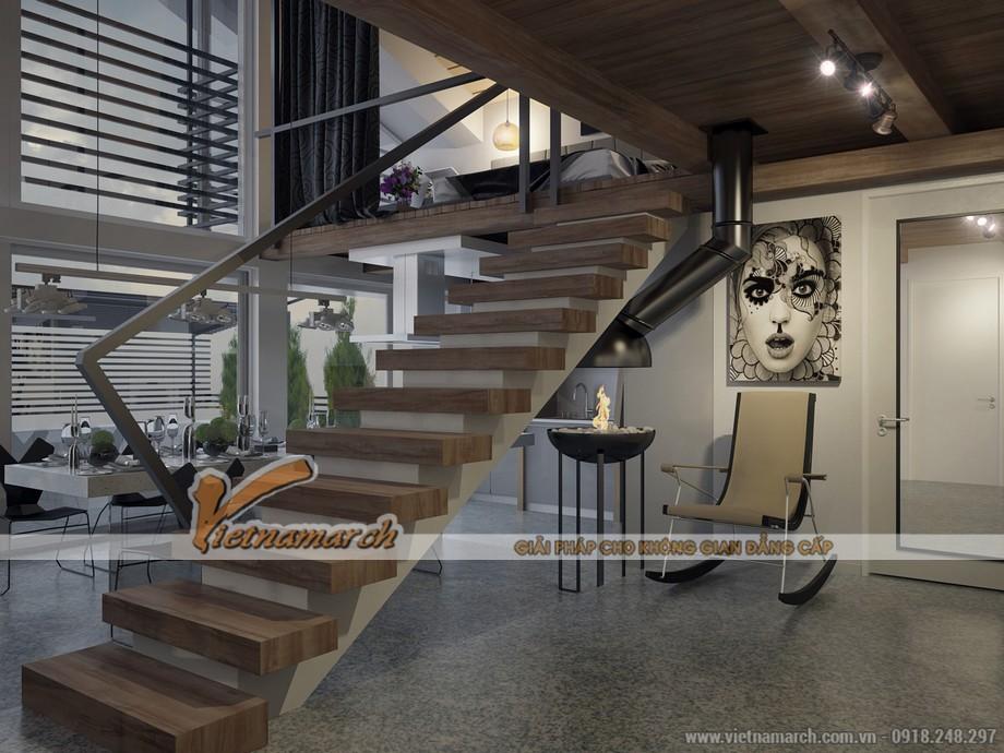 Những bậc thang bằng gỗ hình khối chữ nhật đơn giản cũng đủ tạo ra sự khác biệt cho căn Penthouse này