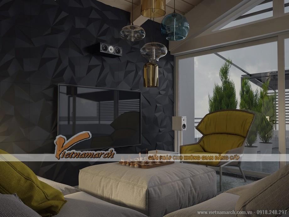 Phòng ngủ trong căn Penthouse ấm cúng không kém phần hiện đại