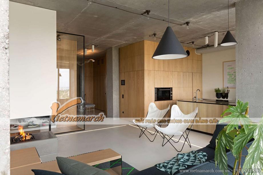 Phòng khách, phòng bếp và nhà ăn thông nhau
