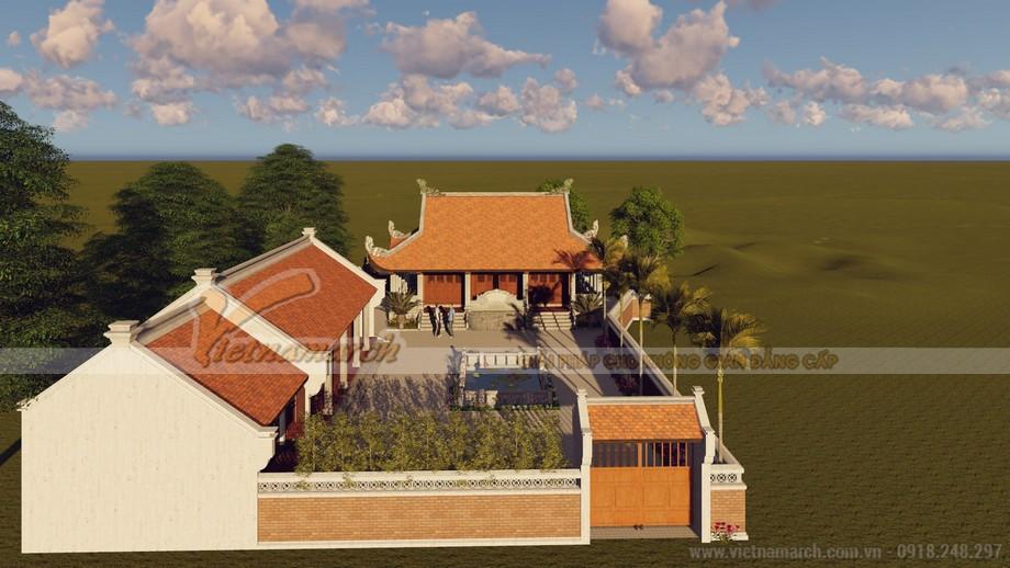 Thiết kế nhà thờ họ 4 mái kèm nhà ngang ở Ân Thi - Hưng Yên