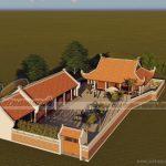 Mẫu nhà thờ  dòng họ 4 mái kèm nhà ngang ở Ân Thi – Hưng Yên