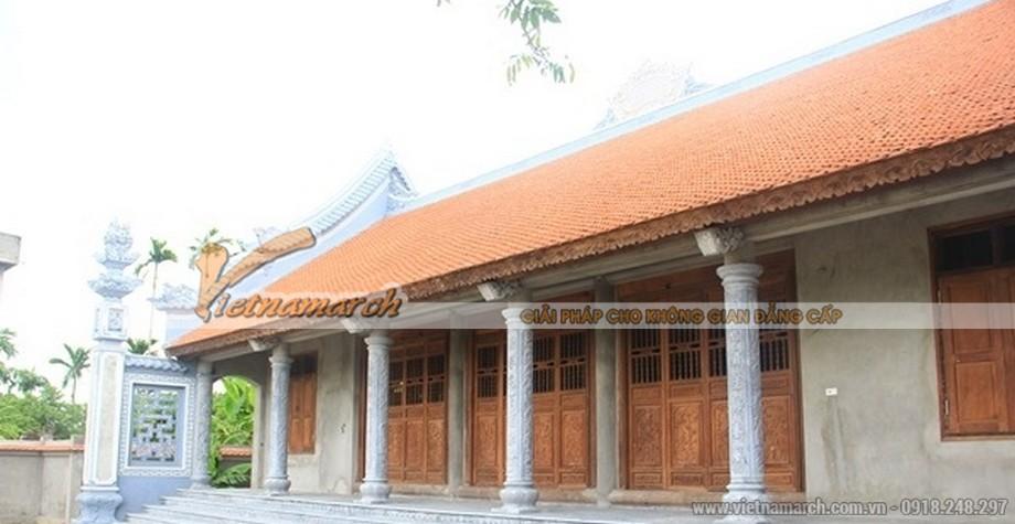 Mẫu nhà thờ họ 5 gian mái ngói đỏ tươi
