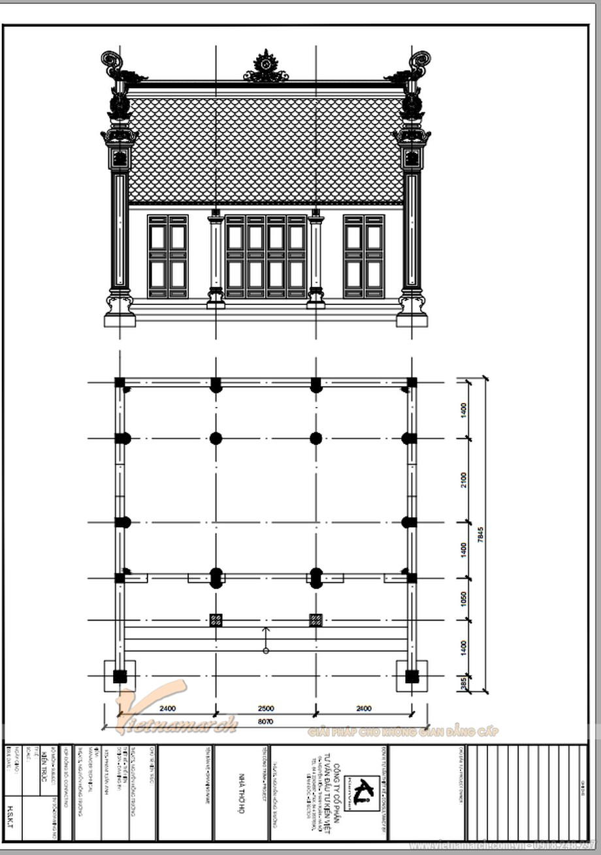 Bản vẽ thiết kế nhà thờ họ mặt bằng chữ Nhất tại Thái Bình