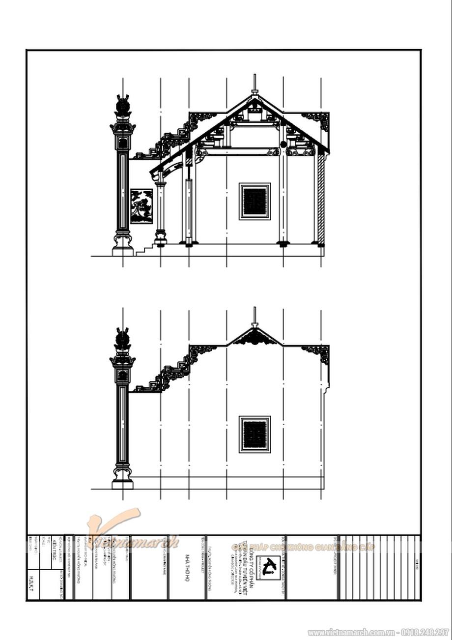 Mặt bằng bên của thiết kế nhà thờ họ của bác Trực