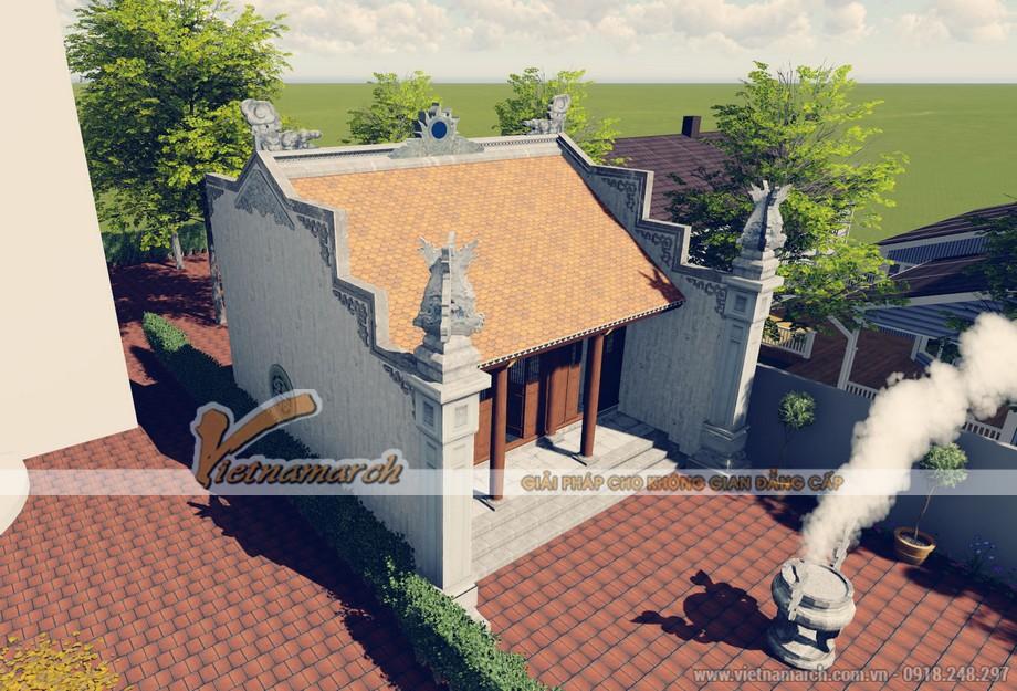 """Thiết kế kiến trúc nhà thờ họ của bác Trực theo lối kiến trúc chữ """"nhất"""""""