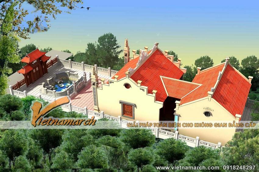 Thiết kế nhà thờ họ mặt bằng chữ Công tại Tiền Hải- Thái Bình-01