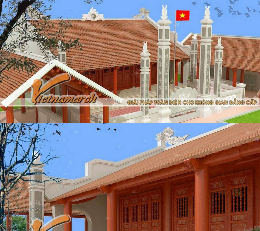 Mẫu nhà thờ họ mặt bằng chữ Quốc tại Hải Phòng