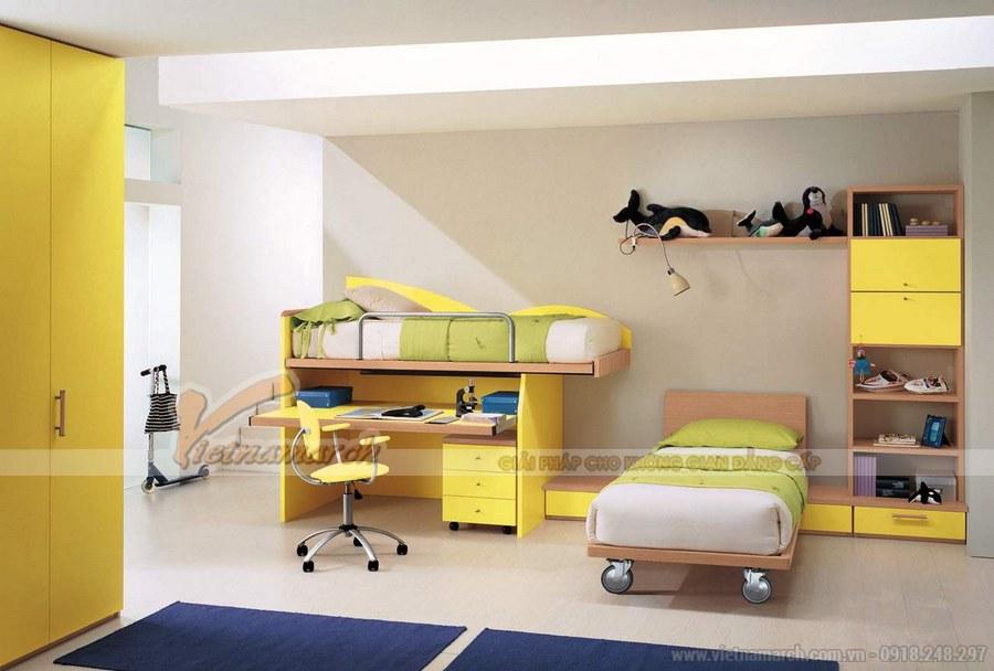 Phòng ngủ của con được thiết kế với đầy đủ công năng: góc học tập, vui chơi, nghỉ ngơi