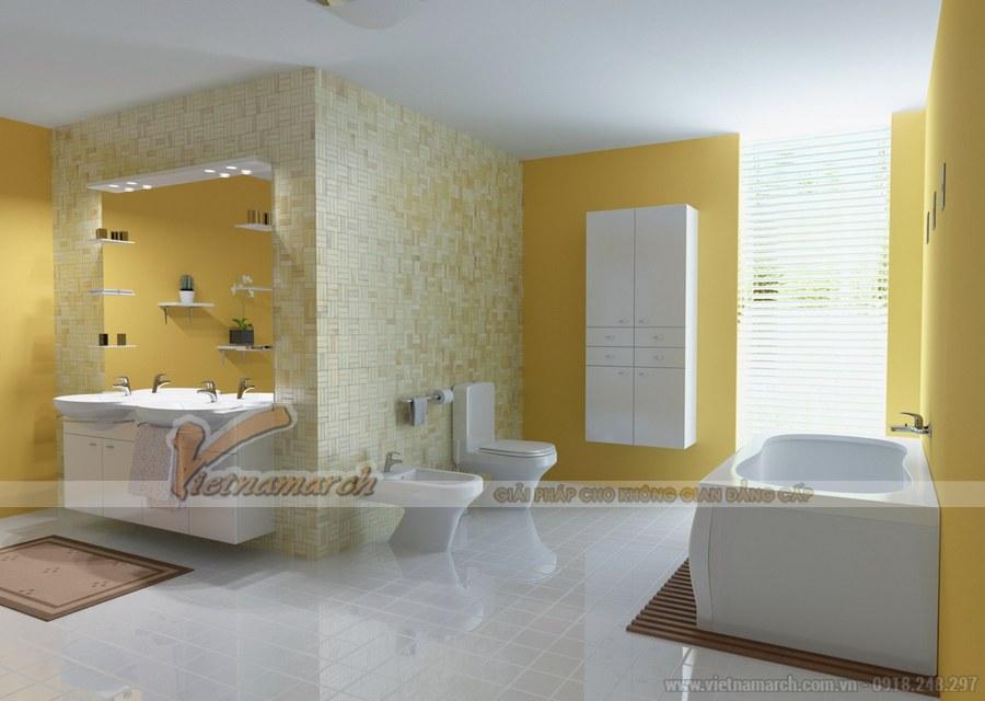 Gam màu trắng và vàng xen kẽ mang đến không gian nhẹ nhàng, dịu êm và thoáng rộng