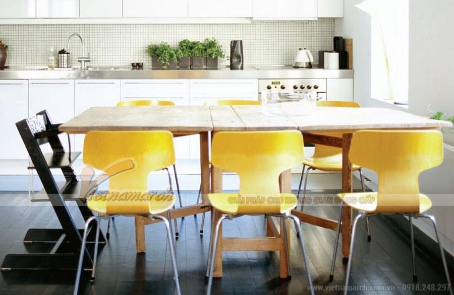 Phòng ăn được thiết kế nhẹ nhàng, tinh tế