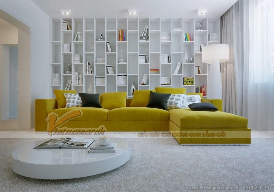 Thiết kế phòng khách kiêm phòng sách mang đến sự tiện dụng và tiết kiệm không gian cho căn hộ