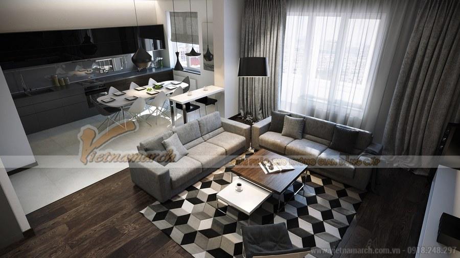 Không gian phòng khách và nhà bếp thiết kế thông nhau giúp tiết kiệm diện tích căn hộ