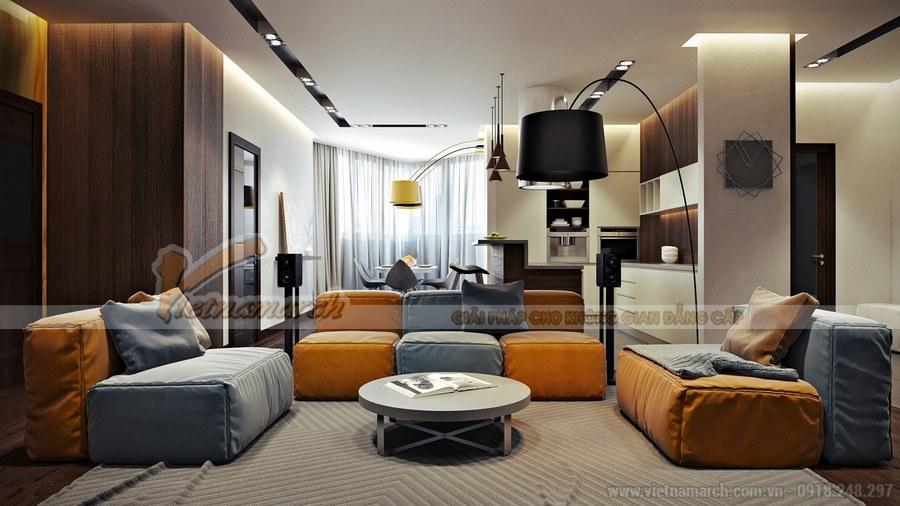 Phòng khách mang đến không gian ấm áp, nhẹ nhàng và sâu lắng