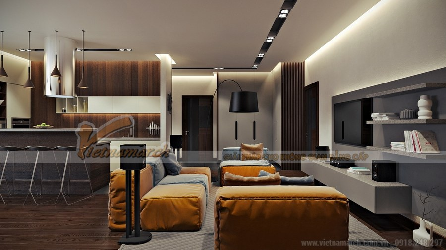 Phòng khách sử dụng tông màu vàng - nâu xen kẽ giúp làm nổi bật các nội thất và hài hòa về màu sắc