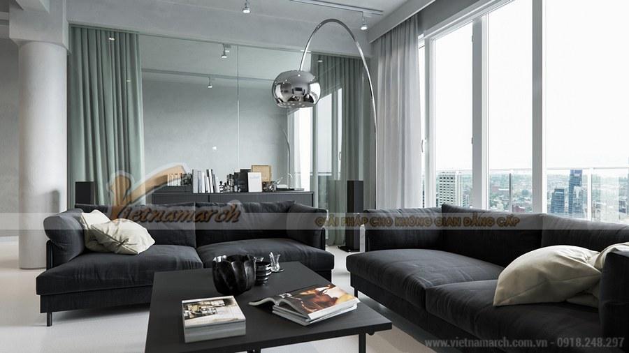 Hệ thống cửa kính lớn giúp căn phòng luôn tràn ngập ánh sáng và năng lượng