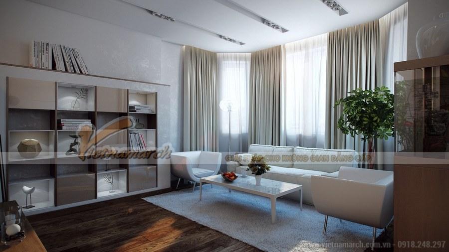 Nội thất phòng khách sử dụng tông màu trắng chủ đạo mang đến không gian nhẹ nhàng, lãng mạn và ngọt ngào
