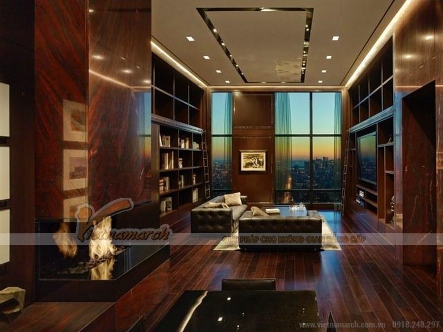Thiết kế nội thất phòng khách sử dụng nhiều chất liệu gỗ cách âm cao cấp tạo không gian yên tĩnh cho việc nghiên cứ