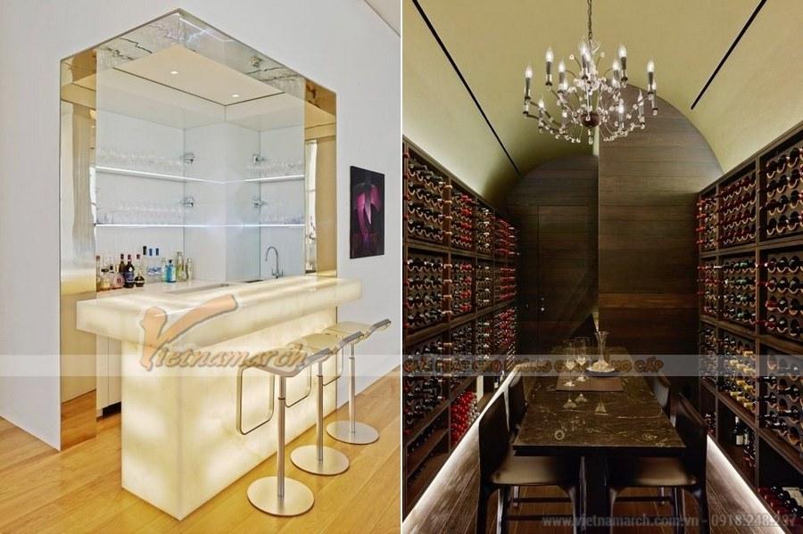 Hệ thống tủ rượu hai bên với các loại rượu thượng hạng, lâu năm của nhiều thương hiệu trên thế giới