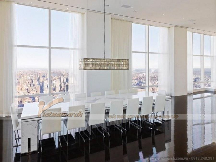 Thiết kế phòng ăn của căn hộ penthouse có một view nhìn tuyệt đẹp