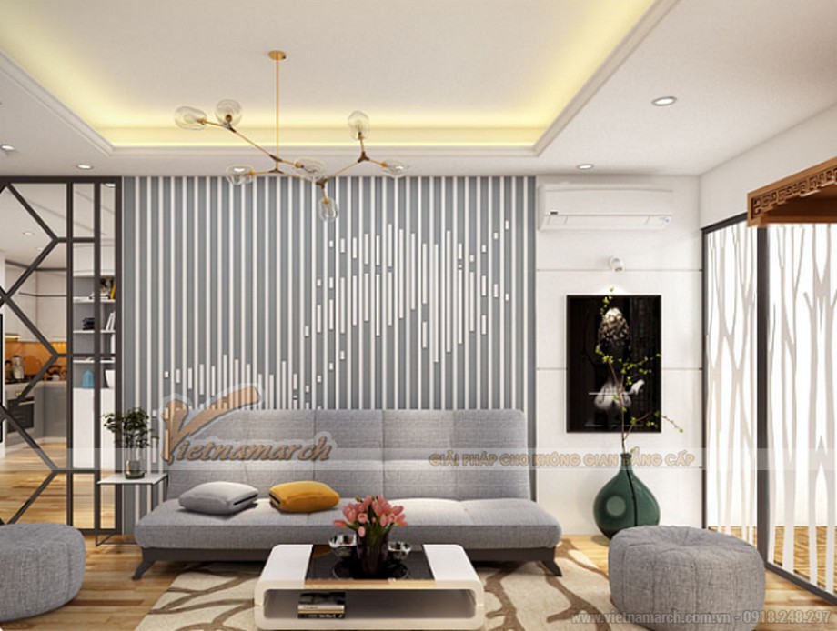Thiết kế nội thất hiện đại căn hộ 60m2 chung cư Goldmark City