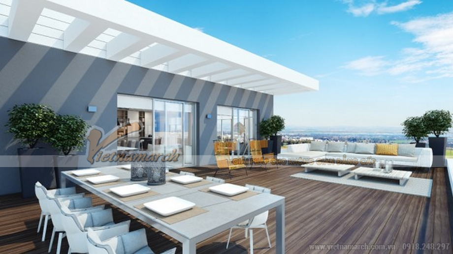 Hòa mình giữa trời xanh chính là trải nghiệm thú vị cho những người sở hữu căn Penthouse