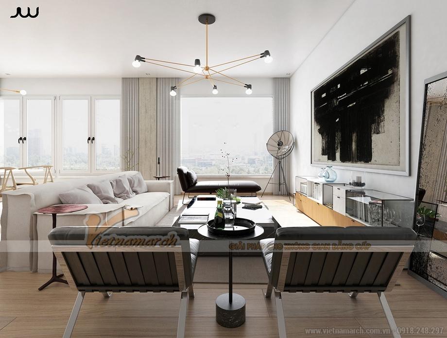 Thiết kế phòng khách mở đón nhiều ánh sáng tự nhiên trong căn hộ Penthouse